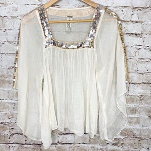 FREE PEOPLE SQUARE NECK SEQUIN SHEER PEASANT TOP